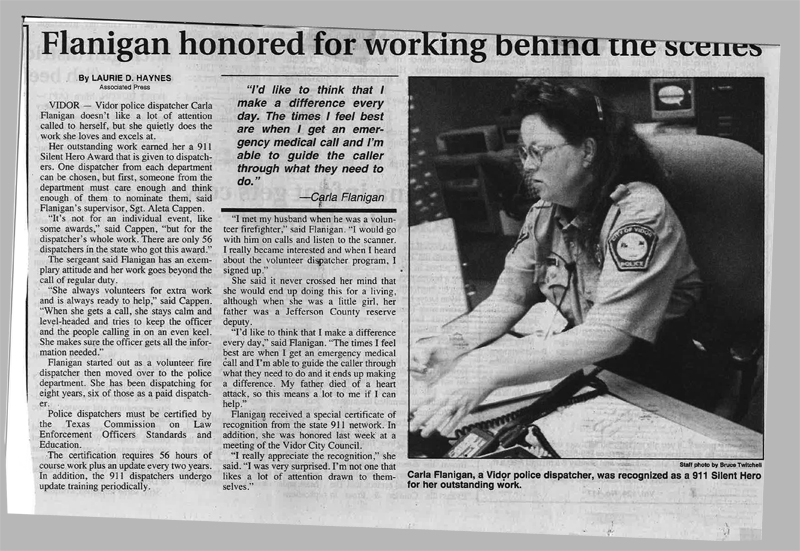 Flanigan honored for working behind the scenes. - Courtesy of The Vidor Vidorian Newspaper