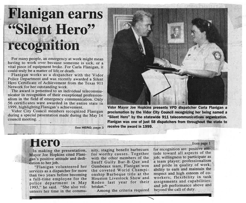 Flanigan earns Silent Hero recognition - Courtesy of The Vidor Vidorian Newspaper