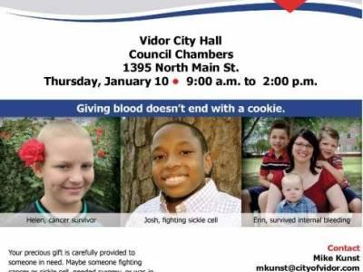 City Of Vidor Blood Drive Jan. 10 - 9am - 2pm