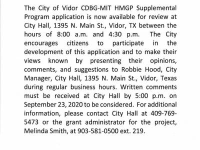 CDBG-MIT HMGP Supplemental Program Application Available For Review