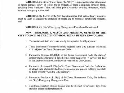 Declaration Of Local Disaster - Hurricane Delta